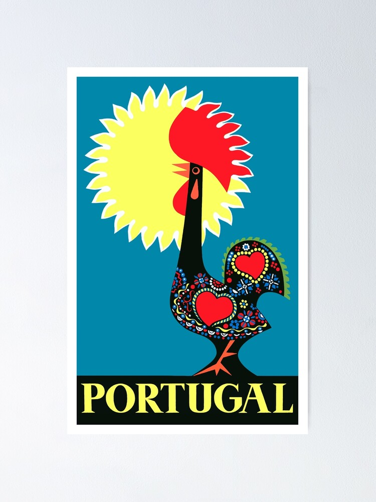 Portuguese Rooster Legend Illustration Poster Art Barcelos Rooster a Portuguese Hero poster sign of faith and justice poster