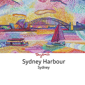 Sydney Harbour with black text on white. by tobycentreart