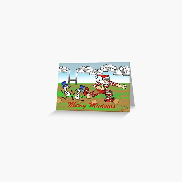 Merry Mudmas, Christmas Rugby Game Greeting Card