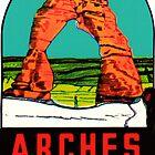 «Parque Nacional Arches Utah Moab Vintage Travel Decal» de hilda74