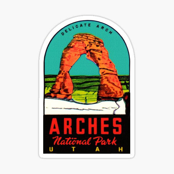Arches National Park Utah Moab Vintage Travel Decal Sticker
