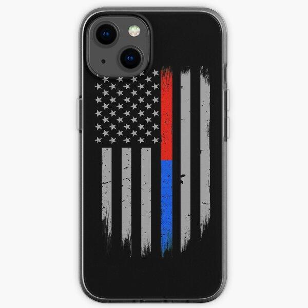 Drapeau américain Thin Red Blue Line Coque souple iPhone