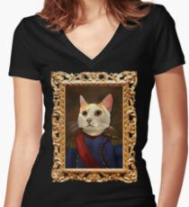 Napoleon Cat Women's Fitted V-Neck T-Shirt