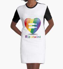 #lovewine (white shadow) Graphic T-Shirt Dress