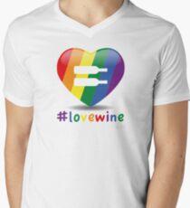 #lovewine (white shadow) Men's V-Neck T-Shirt