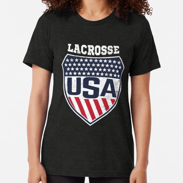 Lacrosse Women's National Team Logo with USA Flag colors Tri-blend T-Shirt