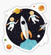 Astronauts in Outerspace Sticker