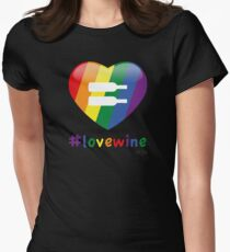 #lovewine (black shadow) Fitted T-Shirt