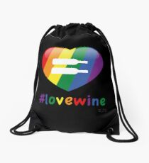 #lovewine (black shadow) Drawstring Bag