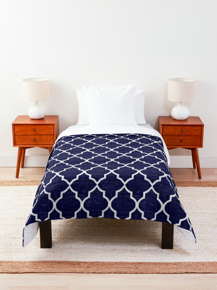 Alternate view of Midnight Blue Quatrefoil Comforter
