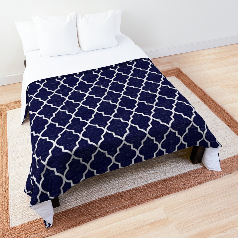 Midnight Blue Quatrefoil Comforter