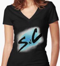 SnC Logo - Blue Women's Fitted V-Neck T-Shirt