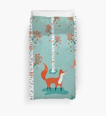 Fox - Squirrel - Birch trees - Fall Duvet Cover