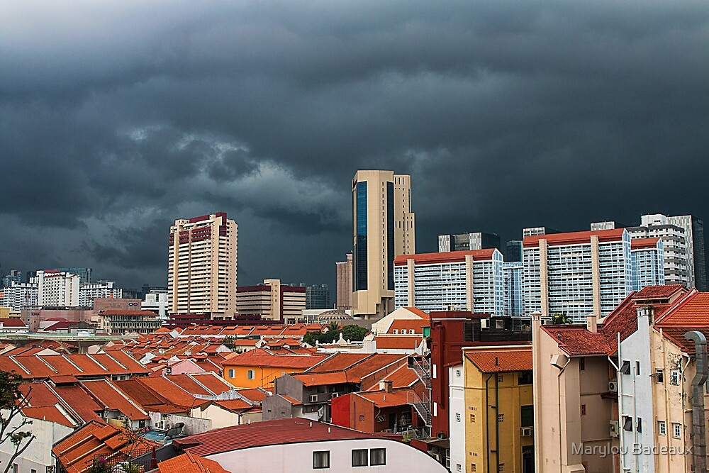 Stormy Sky Over Singapore by Marylou Badeaux