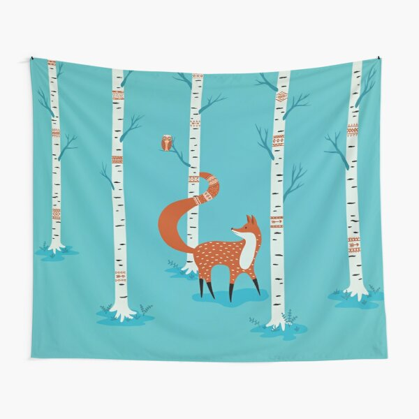 Fox - Owl - Birch Trees  Tapestry