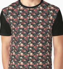 Black and Red Rose Pattern Graphic T-Shirt