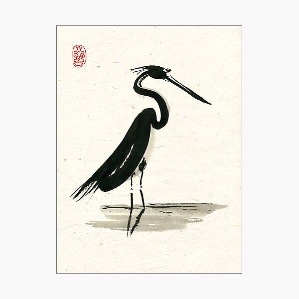 heron on rice paper Photographic Print