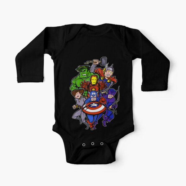 Mighty Heroes Long Sleeve Baby One-Piece