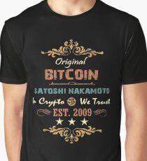 Camiseta gráfica Camiseta vintage de Bitcoin Original Bitcoin Satoshi Nakamoto Est. 2009