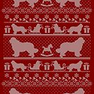 Ugly Christmas sweater dog edition - Newfoundland dog red by Camilla Mikaela Häggblom