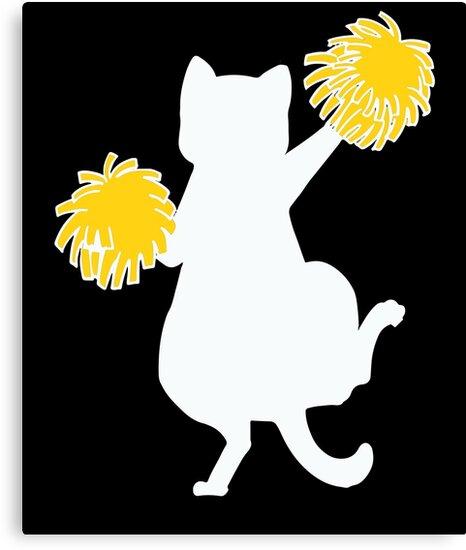 Funny Cartoon Cat Cheerleader Feline Lover Gift by JapaneseInkArt