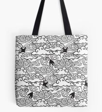Doodle clouds and swallows. Cloudscape pattern with birds. Tote Bag