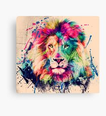 Lion Aquarell Splash Portrait Leinwanddruck
