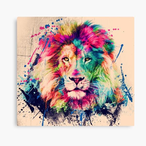 Lion Watercolor Splash Portrait  Canvas Print