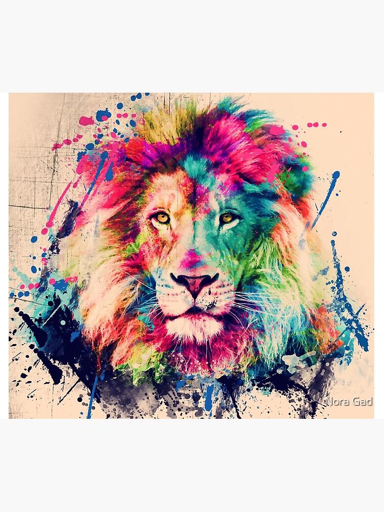 Lion Watercolor Splash Portrait  by NoraMohammed