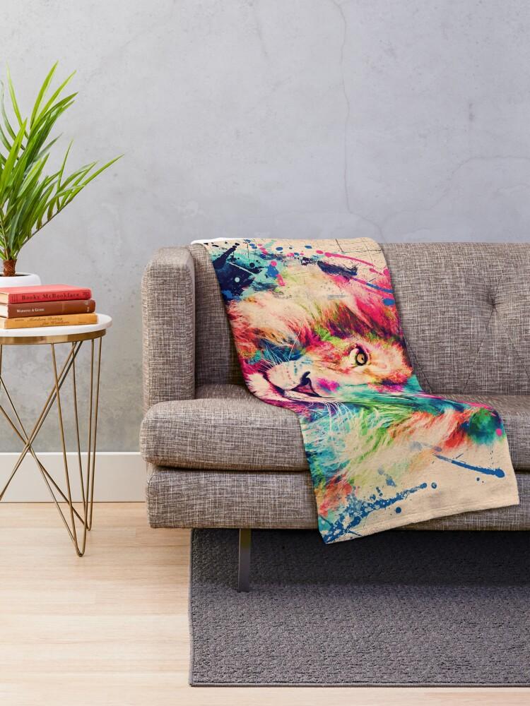 Alternate view of Lion Watercolor Splash Portrait  Throw Blanket