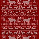 Ugly Christmas sweater dog edition - Corgi red by Camilla Mikaela Häggblom
