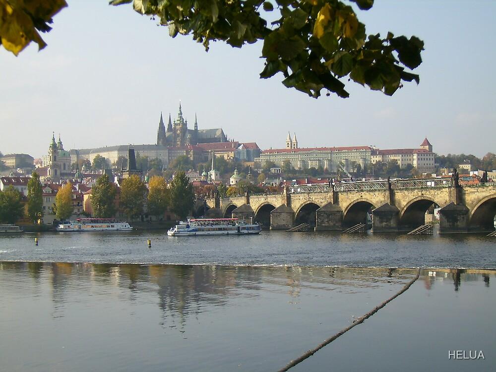 Prague With The Carolus Bridge Across The Danube by HELUA