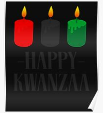 Happy Kwanzaa Candles Mishumaa Saba Black Holiday Poster