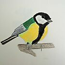 Great Tit Coloured Pencil Drawing by CreativeEm