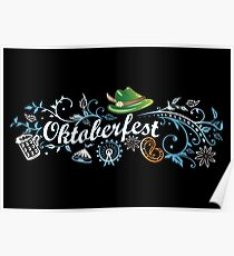 Oktoberfest decoration with traditional elements Poster