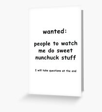nunchucks r cool Greeting Card