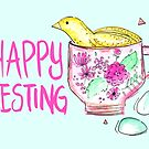 Quail in a Teacup - Happy Nesting by makemerriness