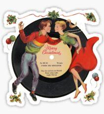 Merry Christmas Vintage Record Print Sticker
