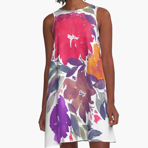hand painted flowers A-Line Dress