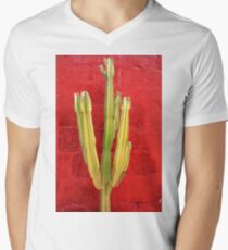 Cactus By Red Painted Wall  T-Shirt