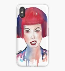 Cool Girl with Red and Blue Hair 'Making a Face' iPhone Case/Skin