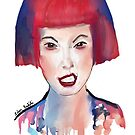 Cool Girl with Red and Blue Hair 'Making a Face' by ibadishi