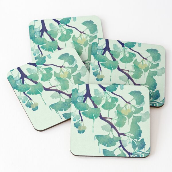 O Ginkgo (in Green) Coasters (Set of 4)