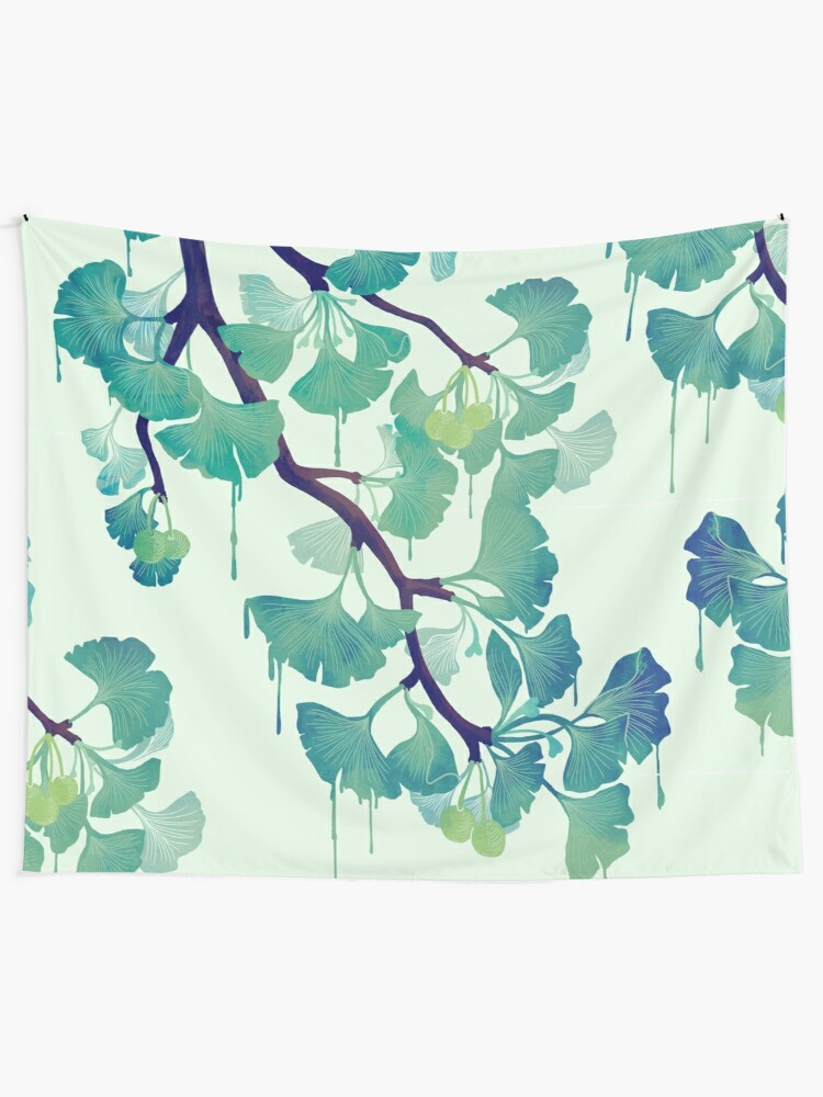 Alternate view of O Ginkgo (in Green) Tapestry
