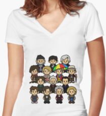 Time Lords Women's Fitted V-Neck T-Shirt
