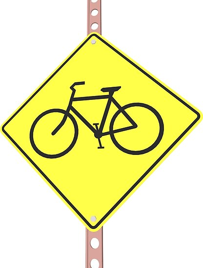 """""""Bicycles ahead"""" - 3d illustration of yellow roadsign isolated on white background by staselnik"""