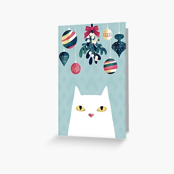 Mistletoe? (White Cat) Greeting Card