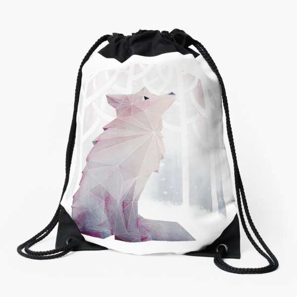 Fox in the Snow Drawstring Bag