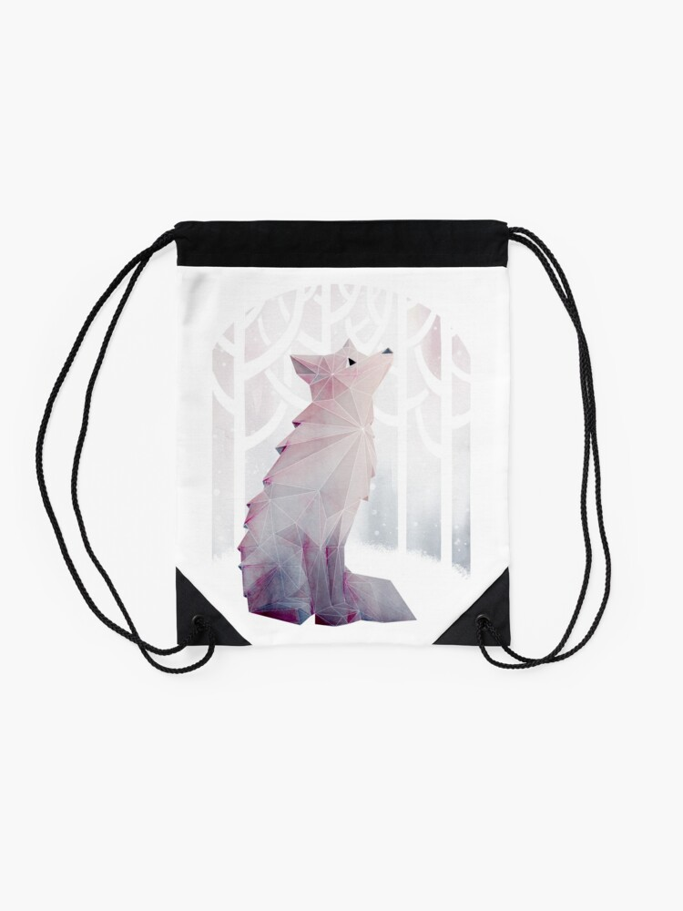 Alternate view of Fox in the Snow Drawstring Bag