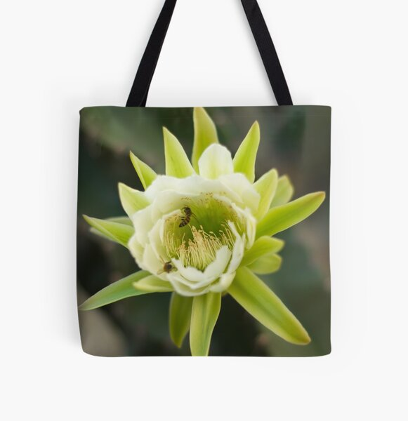 Princess of the Night - Bloom with Playful Bees All Over Print Tote Bag